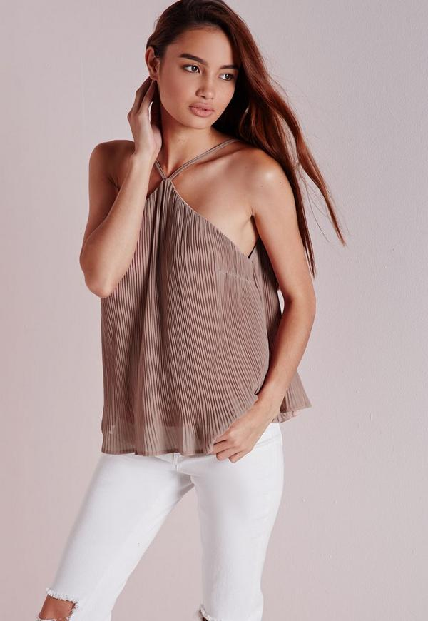 Strappy Pleated Cami Nude