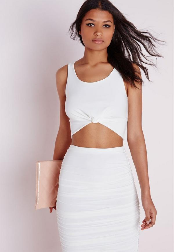 Sleeveless Knot Front Crop Top White