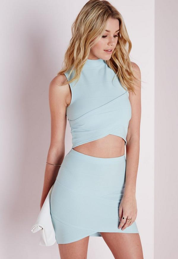 Bandage Wrap Over Crop Top Baby Blue