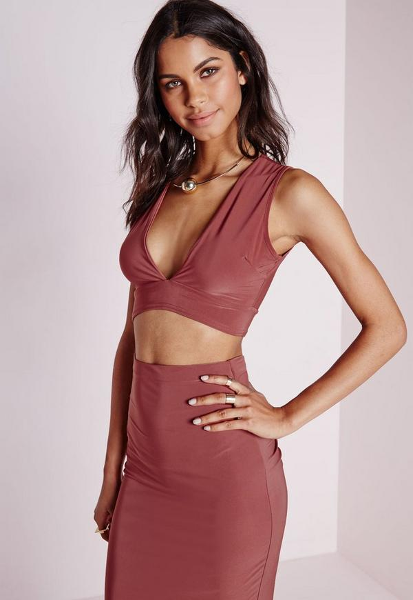 Slinky Plunge Crop Top Dark Rose