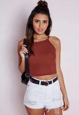 Ribbed High Neck Crop Top Terracotta