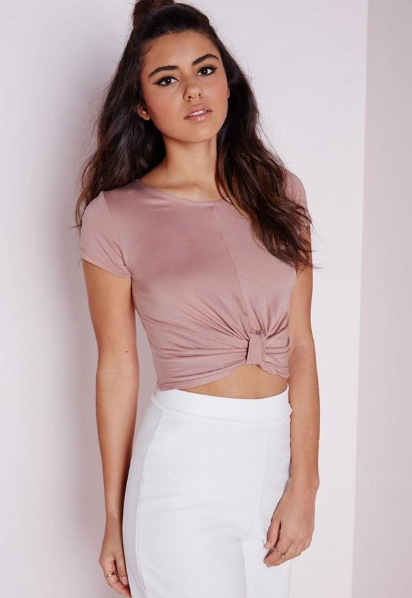 Knot Front Capped Sleeve Crop Top Mauve