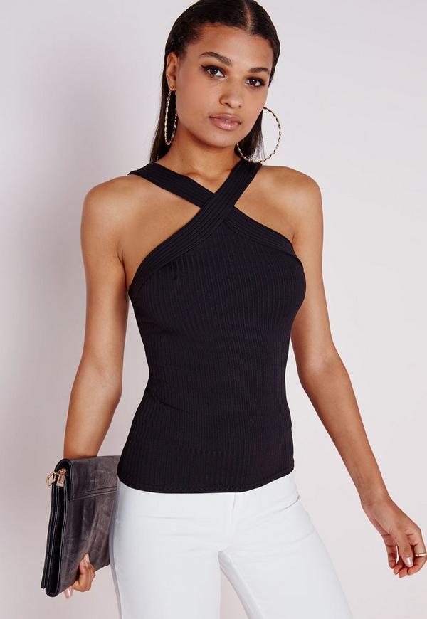 Ribbed Wrap Vest Black