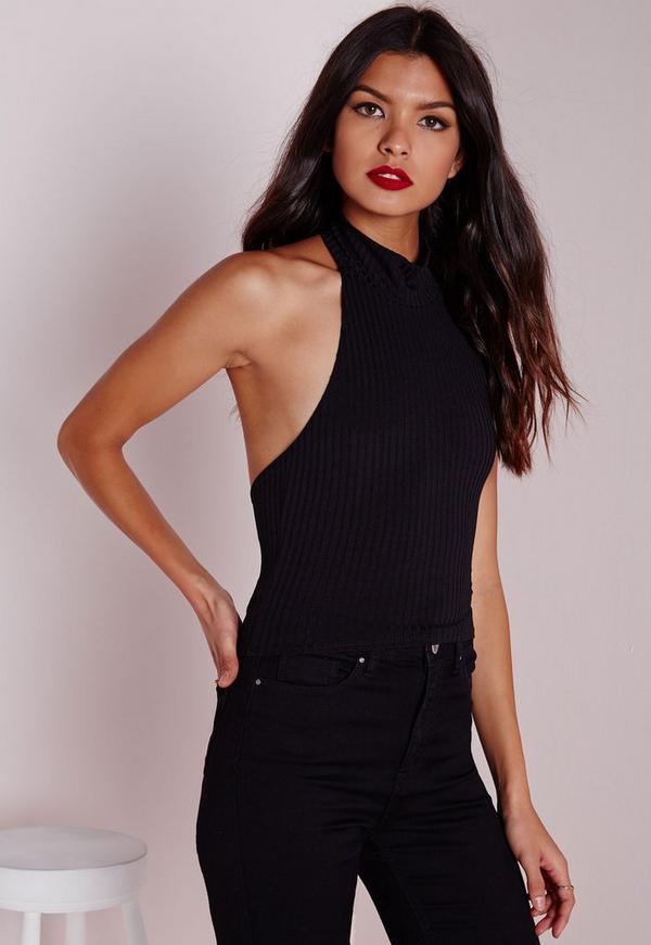 Halterneck Ribbed Crop Top Black