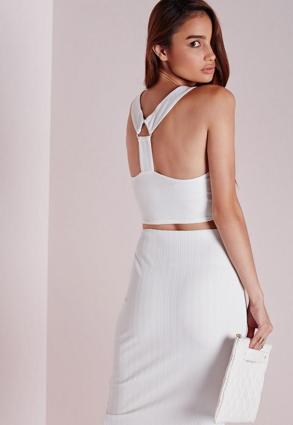 Triangle Ring Bandage Crop Top White