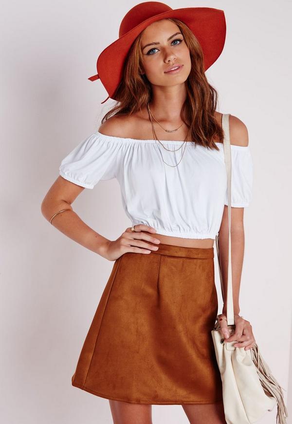 Bardot Crop Top White