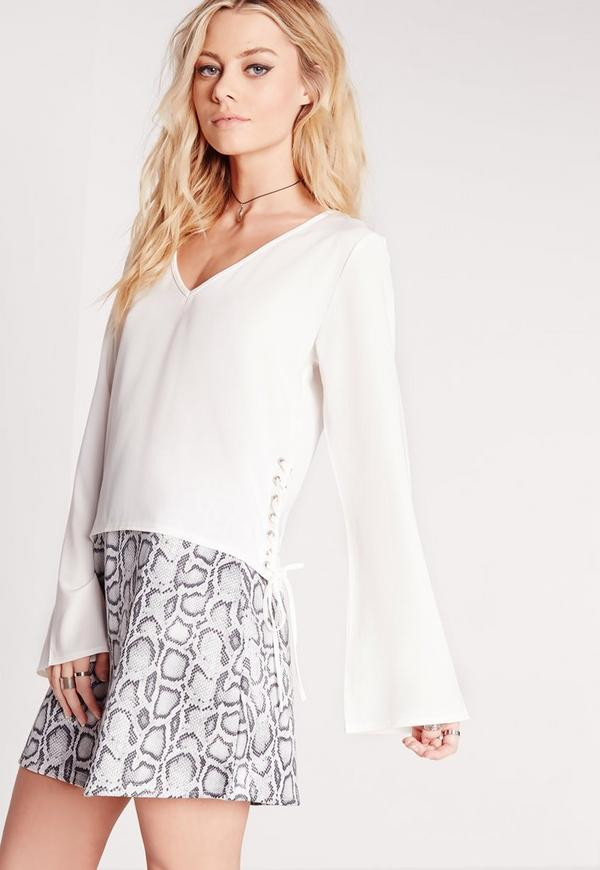 Lace Side Crop Blouse White