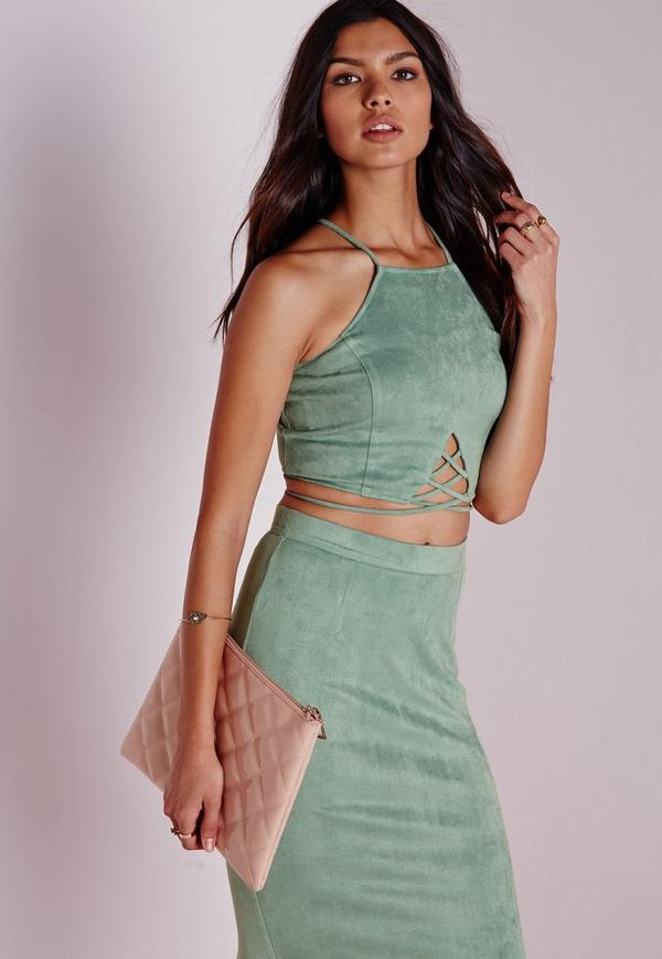 Faux Suede Lace Up Front Crop Mint