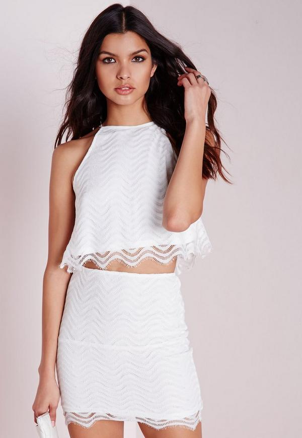Wave Lace Crop Top White