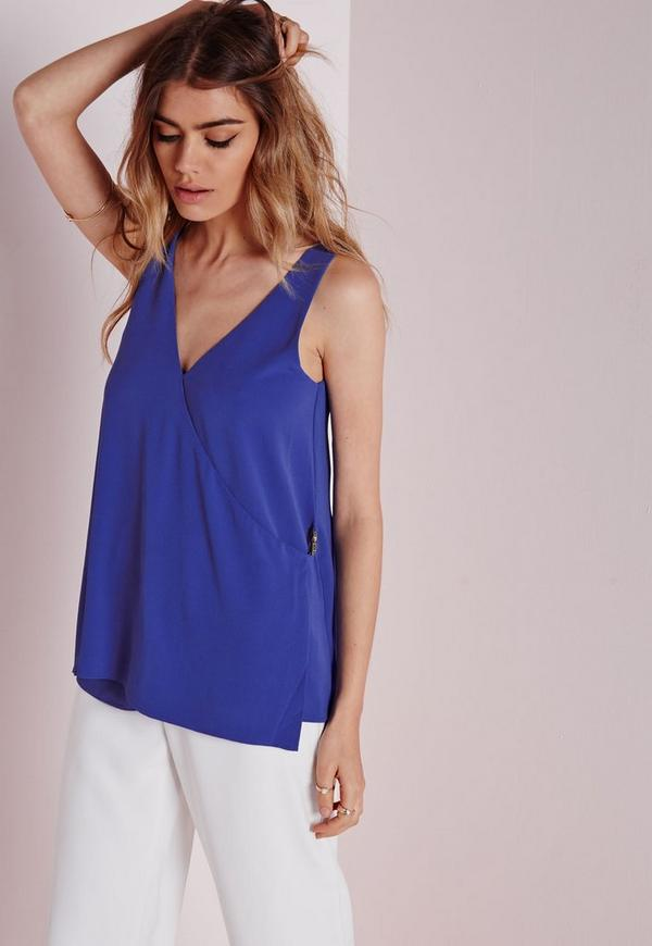 Wrap Cami Top With Buckle Detail Blue
