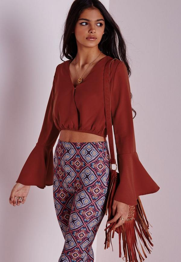 Wrap Over Bell Sleeve Cropped Blouse Rust