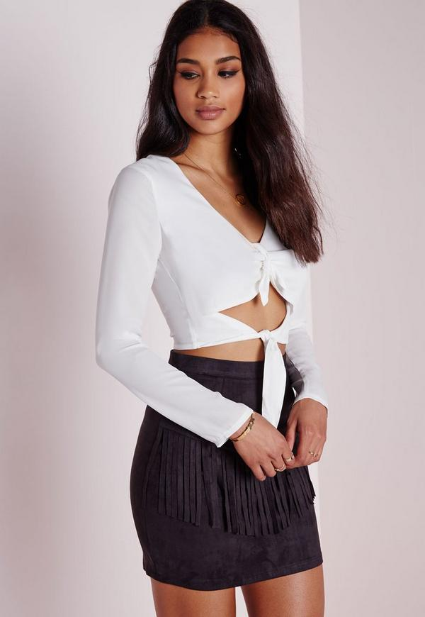 Double Tie Front Long Sleeve Blouse White