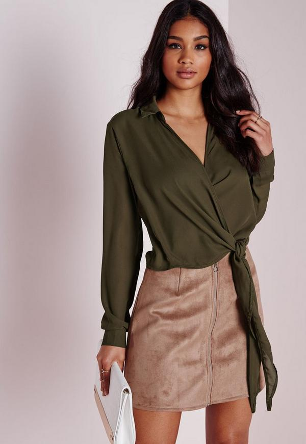 Wrap Over Tie Side Blouse Khaki
