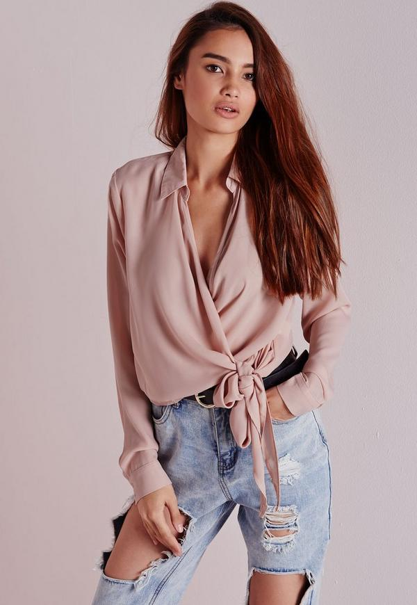 Wrap Over Tie Side Blouse Nude -16
