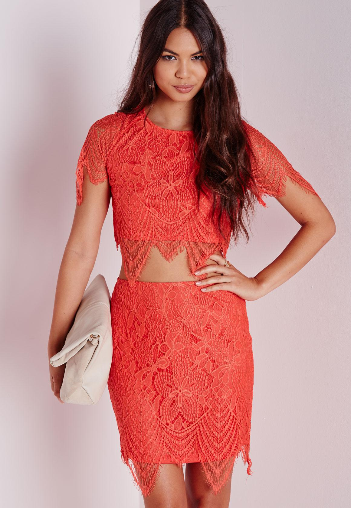 22ced0460 Scalloped Hem Lace Crop Top Orange | Missguided Ireland
