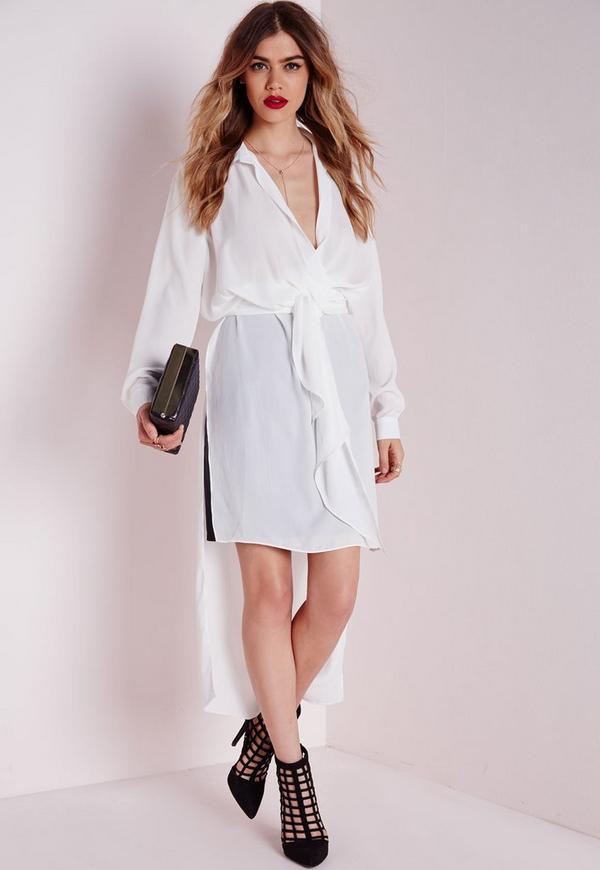 Maxi Tie Wrap Blouse White