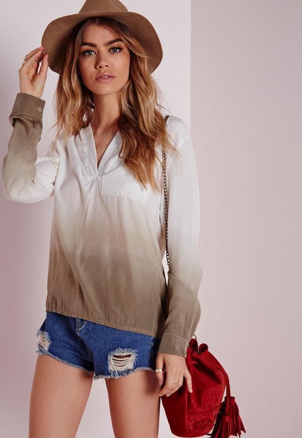 Ombre Wrap Back Shirt Khaki