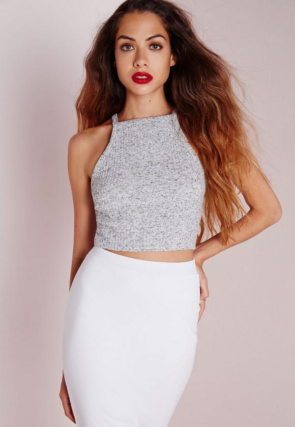 Knitted Ribbed Crop Top Grey