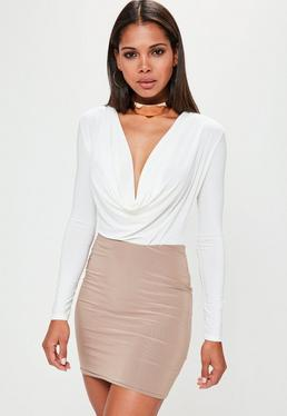Cowl Neck Bodysuit White
