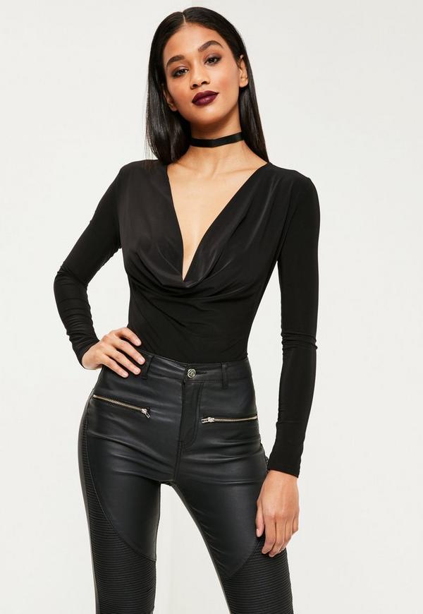 Cowl Neck Bodysuit Black