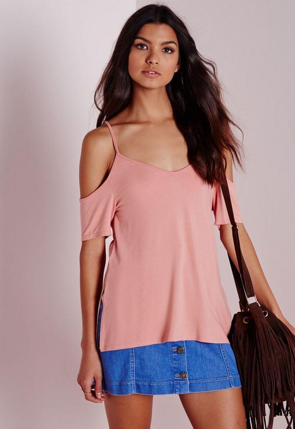 Cold Shoulder Back Detail T Shirt Rose Pink