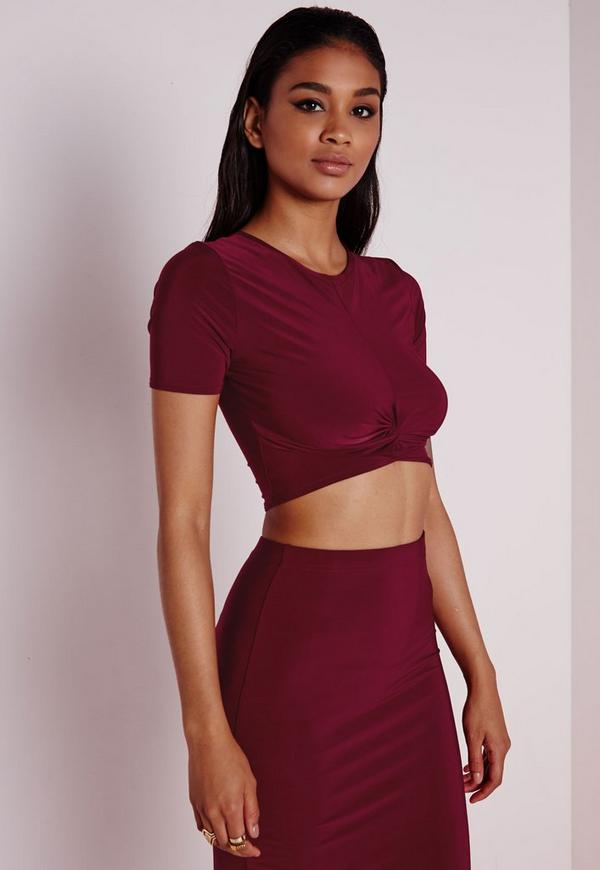 Knot Front Capped Sleeve Slinky Crop Top Burgundy
