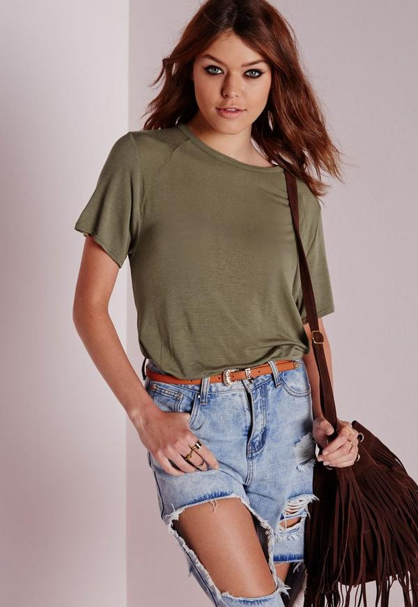 Round Neck Dip Hem T Shirt Khaki