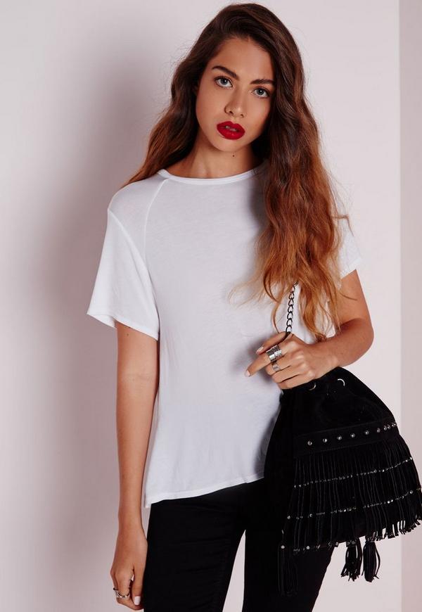 Round Neck Dip Hem T Shirt White