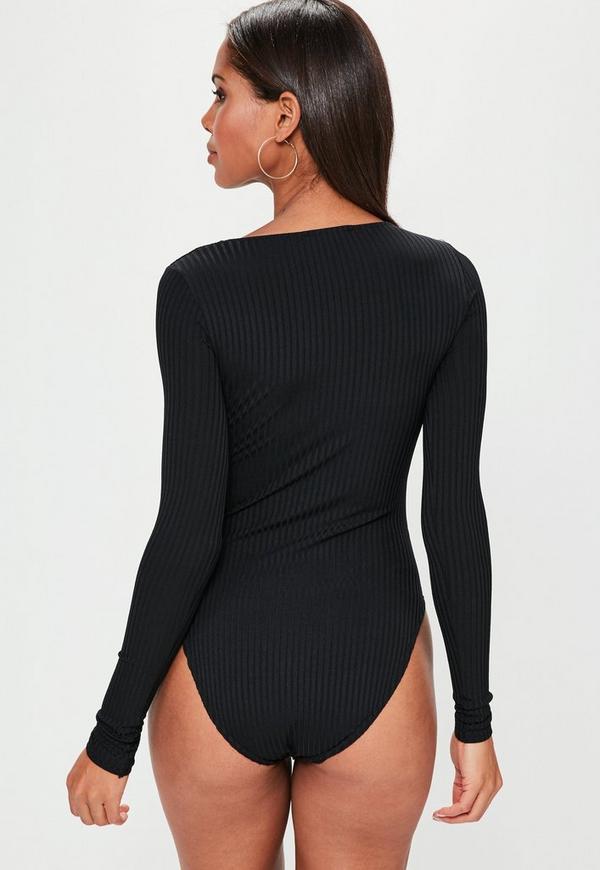 Black Lace Up Front Bodysuit Missguided