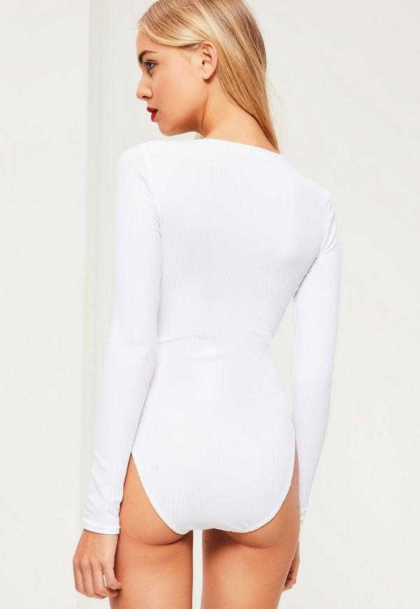 White Lace Up Front Bodysuit | Missguided