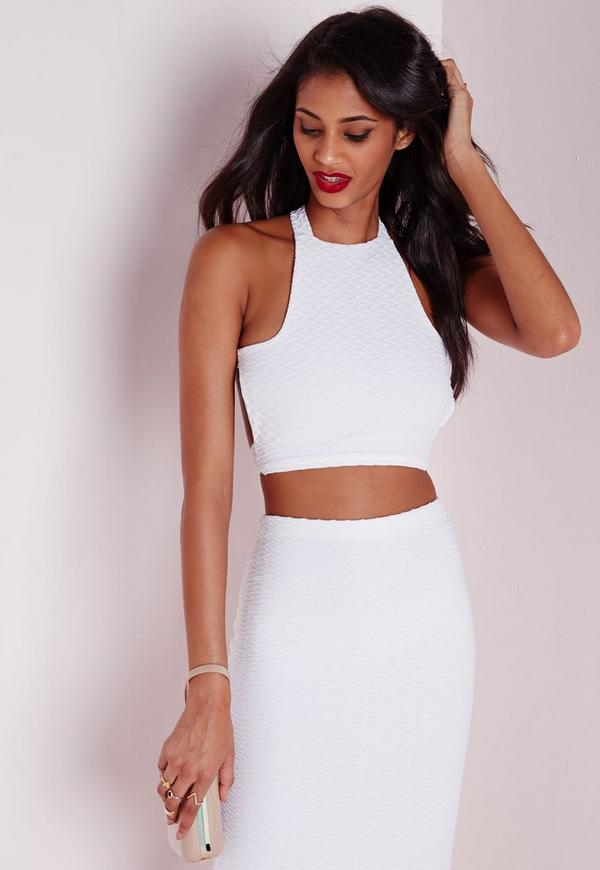 jacquard cross back crop top white missguided
