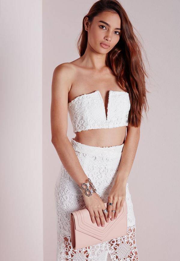 V Insert Crochet Bralet White