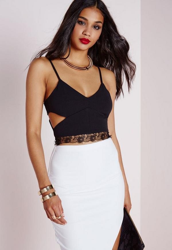 Cut Out Lace Bralet Black