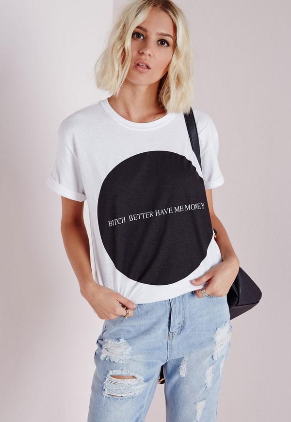 Slogan Money T Shirt White