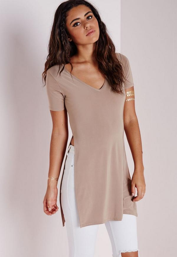 Split Side Slinky T Shirt Taupe