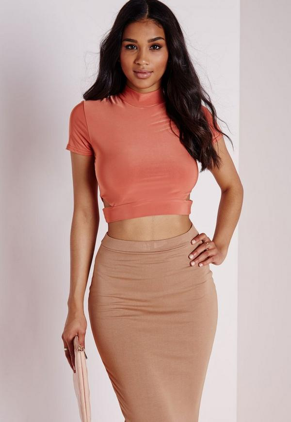 Cut Out Slinky Crop Top Rust