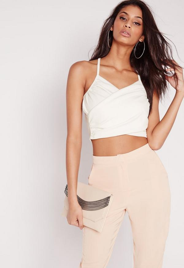 Wrap Over Crepe Crop Top White