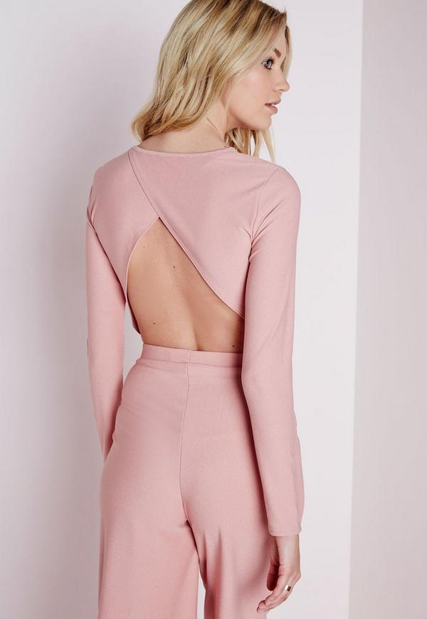 Wrap Back Long Sleeve Crop Top Rose Pink