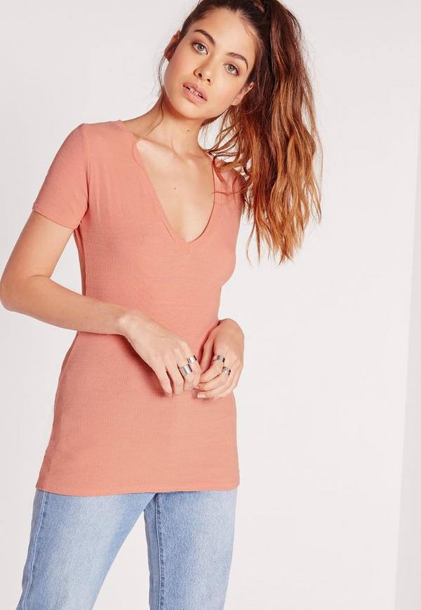Ribbed V Neck T Shirt Rose Pink