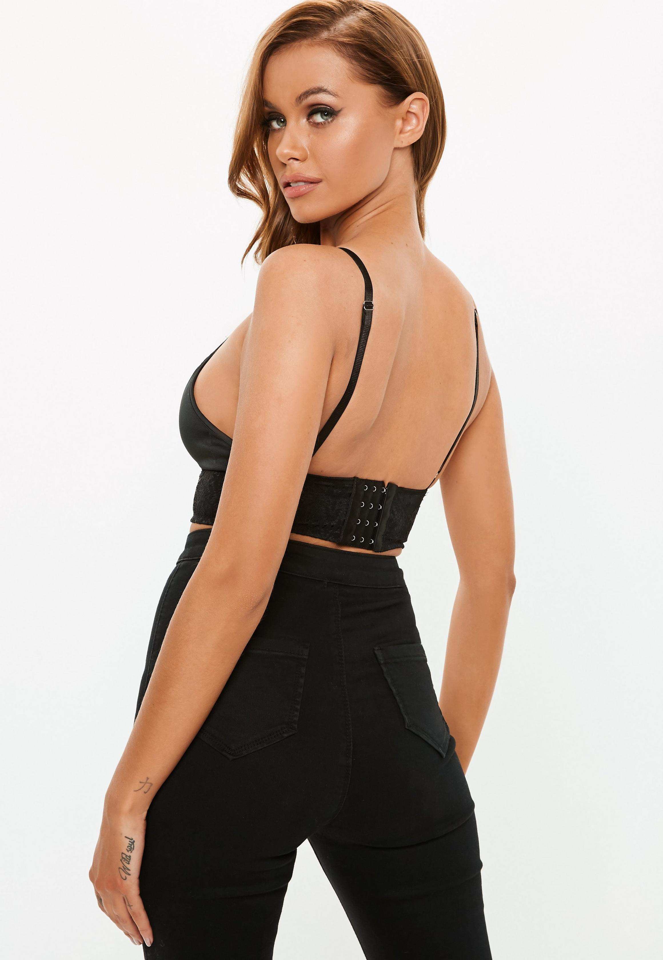 ee2628ec7c338 Missguided Harness Detail Lace Bralet Black at £18