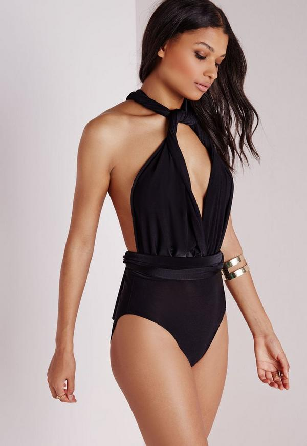 Do It Any Way Multiway Slinky Bodysuit Black