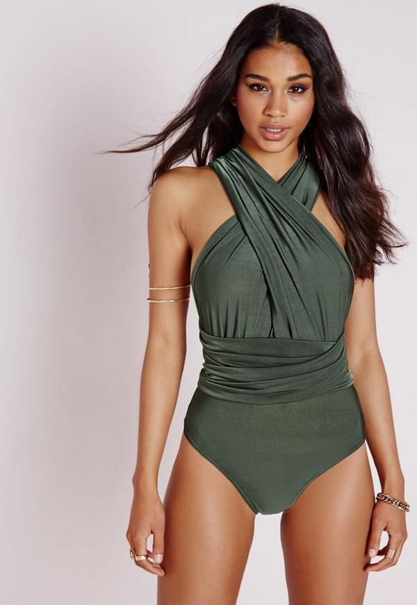 Do It Any Way Multiway Slinky Bodysuit Khaki