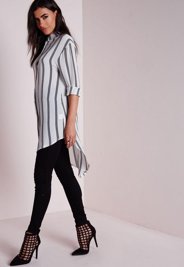 Longline Striped Blouse White
