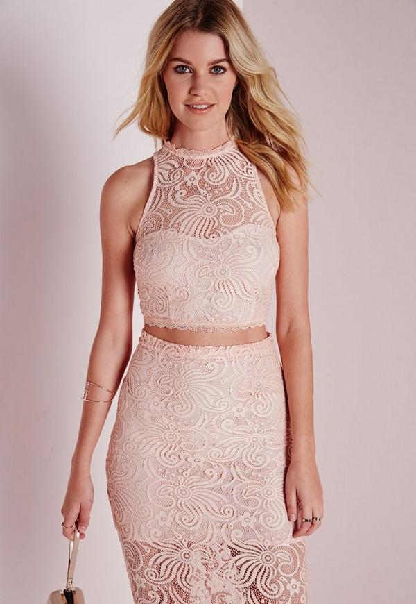 Flower Lace Crop Top Nude
