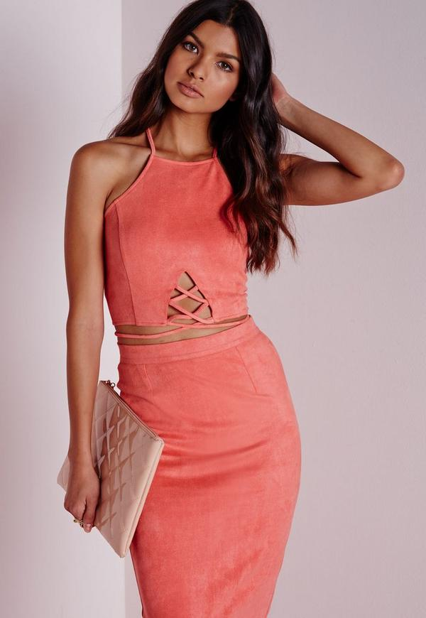 Faux Suede Lace Up Front Crop Pink