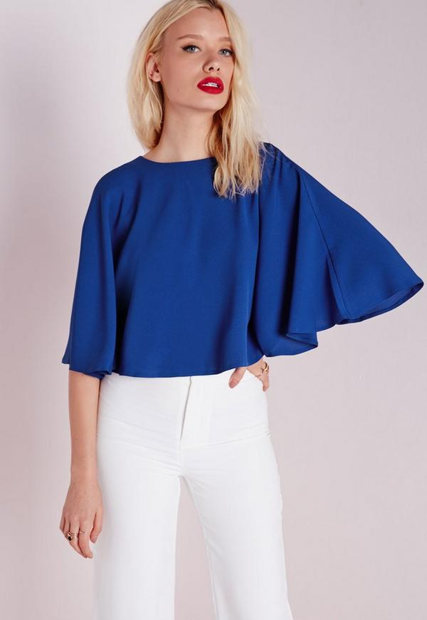 Cape Blouse Cobalt Blue
