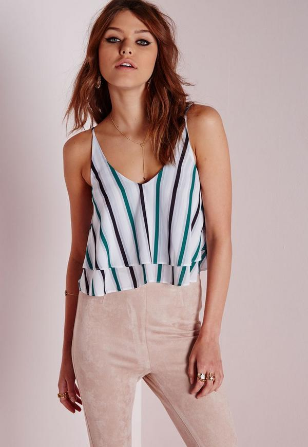Striped Double Layer Crop Top