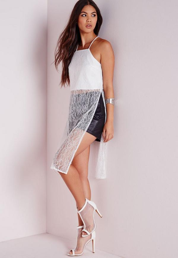 Long Line Lace Cami White