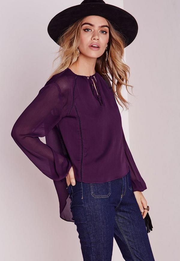 Ladder Detail Dip Hem Blouse Purple