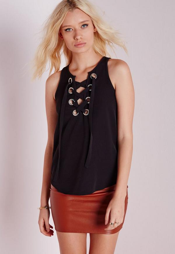 Eyelet Lace Up Cami Top Black